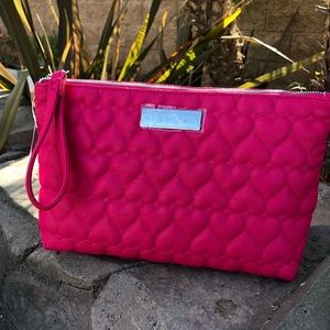 Betsy Johnson quilted pebble wristlet makeup bag